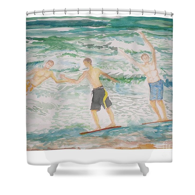 Seascape Shower Curtain featuring the painting Skim Boarding Daytona Beach by Hal Newhouser