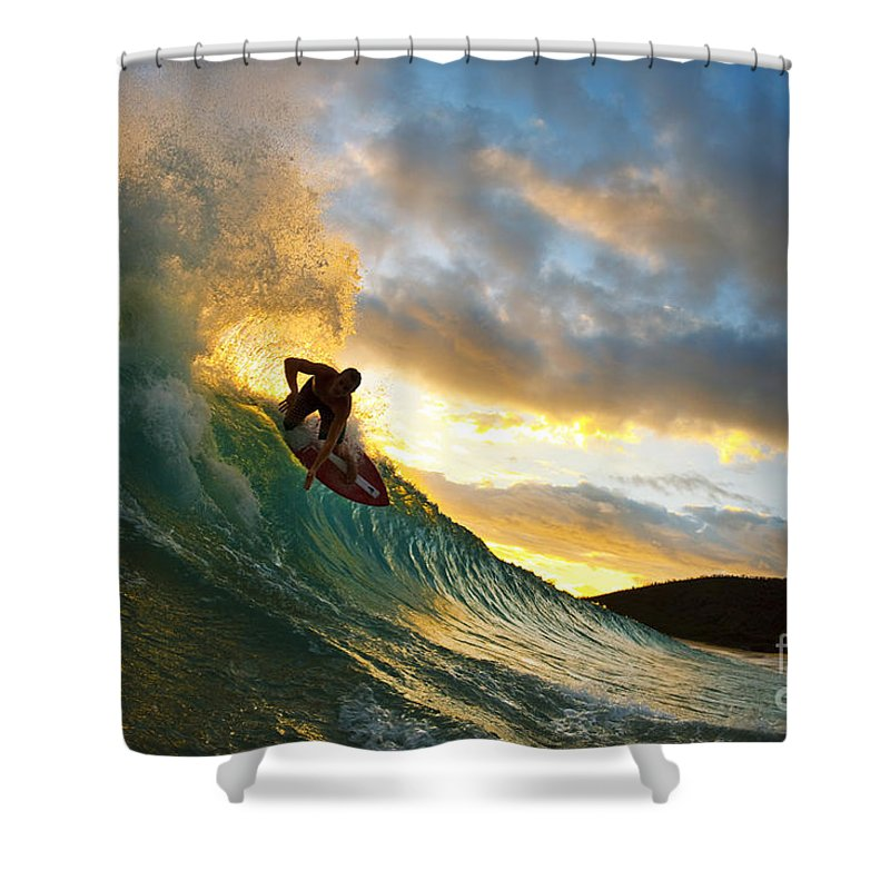 Action Shower Curtain featuring the photograph Skimboarding At Sunset II by MakenaStockMedia - Printscapes