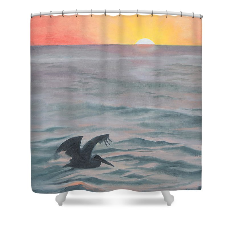 Seascape Shower Curtain featuring the painting Skimming The Surface by Darlene Weaver