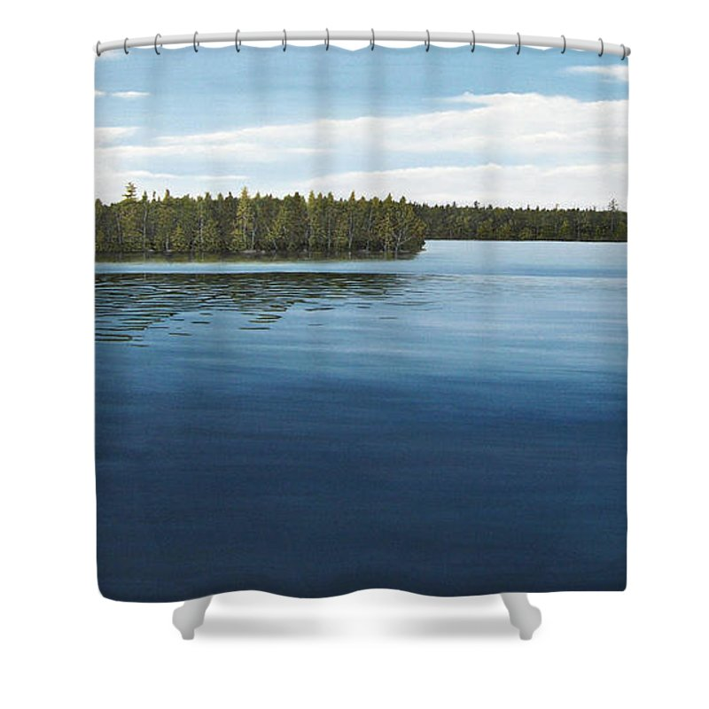 Landscapes Shower Curtain featuring the painting Skinners Bay Muskoka by Kenneth M Kirsch