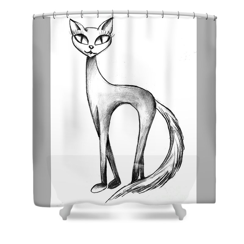 Skinny Shower Curtain Featuring The Drawing Cat With Big Eyes By Sofia Metal Queen