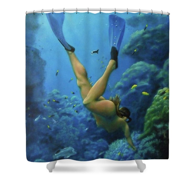 Sea Shower Curtain Featuring The Painting Skinny Dipping By Bruce Wilson