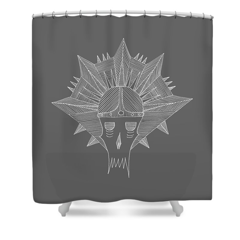 Skull Shower Curtain featuring the drawing Skull And Spikes by Mihail Georgiev