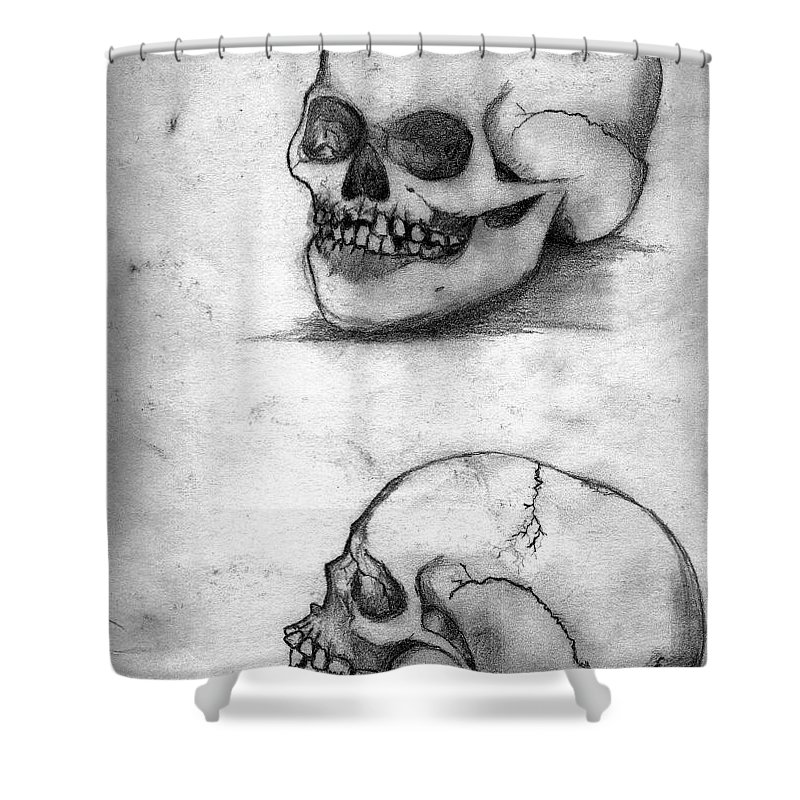 Skull Shower Curtain featuring the drawing Skull Drawing by Alban Dizdari