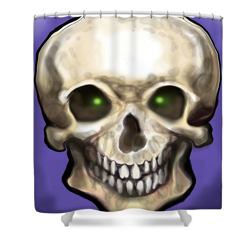 Skull Shower Curtain featuring the painting Skull by Kevin Middleton