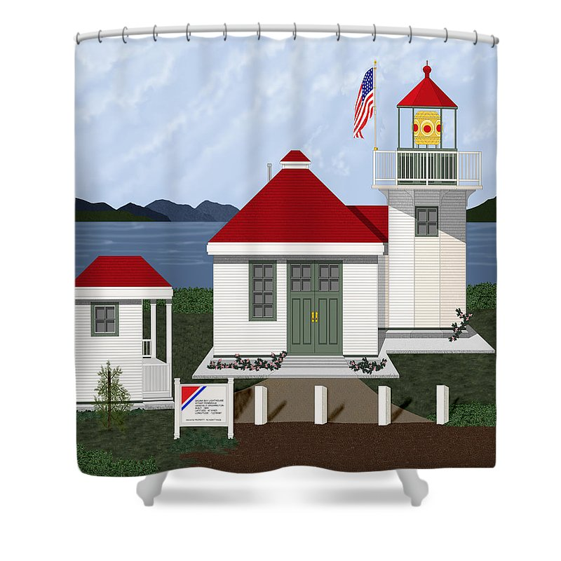 Skunk Bay Lighthouse Shower Curtain featuring the painting Skunk Bay Lighthouse by Anne Norskog
