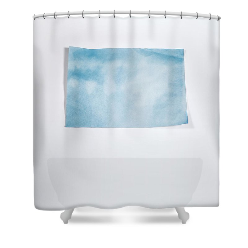 Scott Norris Photography Shower Curtain Featuring The Photograph Sky Blue On White By