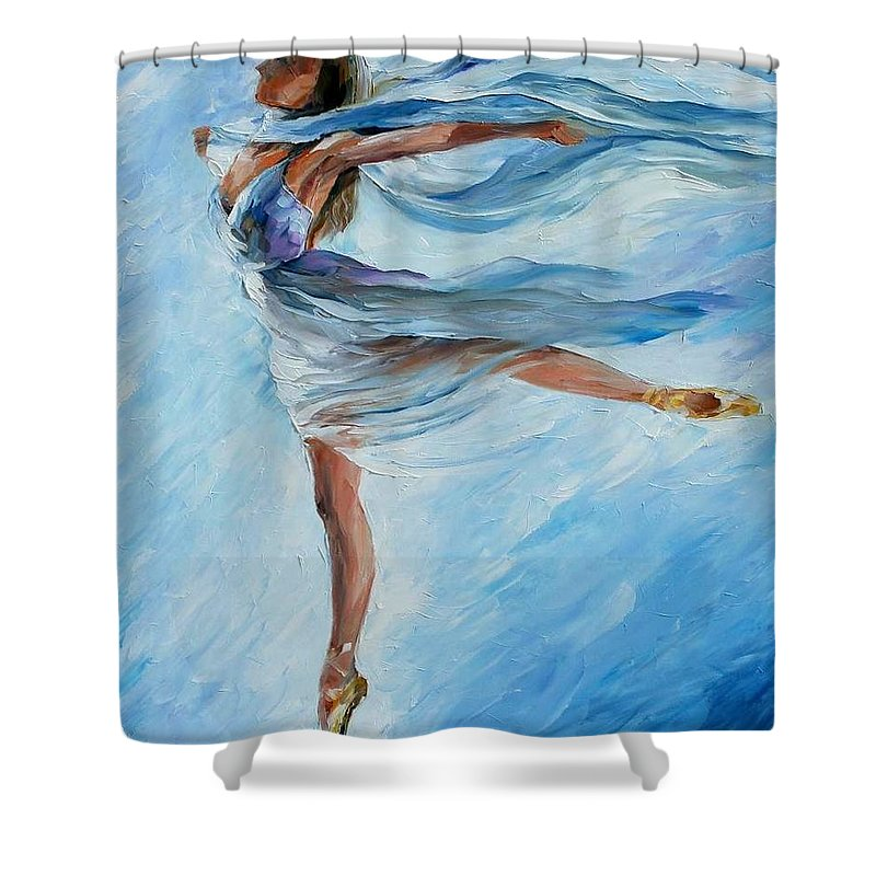 Ballet Shower Curtain featuring the painting Sky Dance by Leonid Afremov
