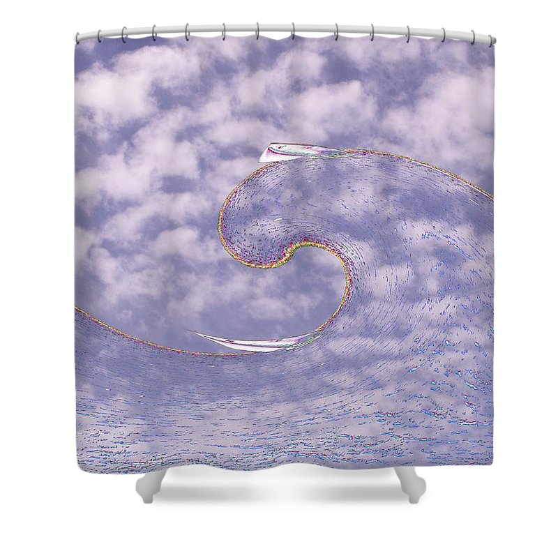 Sail Shower Curtain featuring the photograph Sky High Sail Surfin by Tim Allen