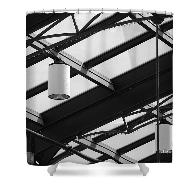 Black And White Shower Curtain featuring the photograph Sky Lights by Rob Hans