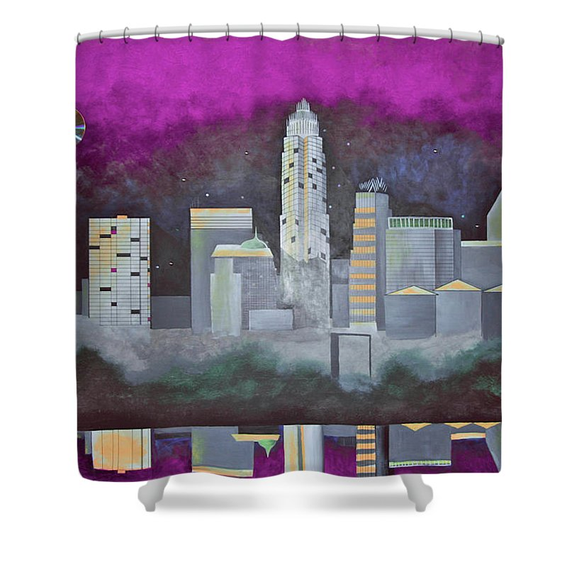Skyline Shower Curtain featuring the painting Sky Line by Virginia Bond
