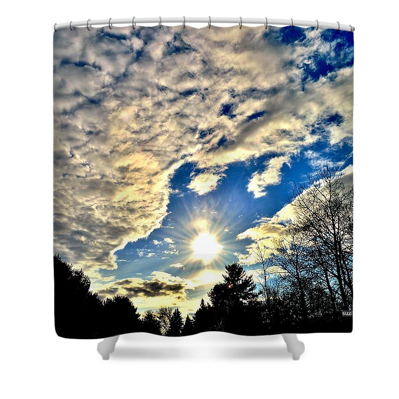 Sunset Shower Curtain featuring the photograph Sky Opens by Susie Loechler