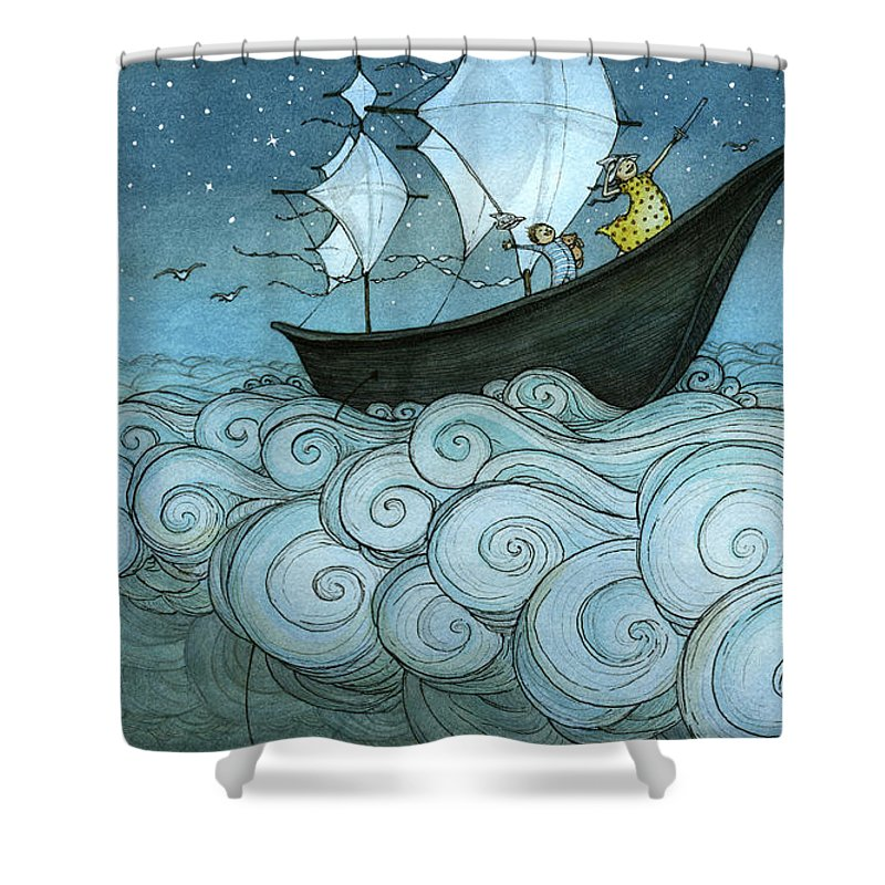 Shower Curtain featuring the drawing Sky Sailing by Eliza Wheeler