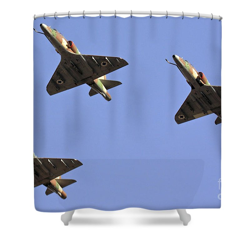 Aircraft Shower Curtain featuring the photograph Skyhawk Fighter Jet In Formation by Nir Ben-Yosef