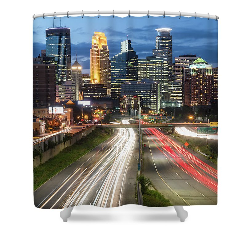 Minneapolis Shower Curtain featuring the photograph Skyline Drive by Ryan Heffron