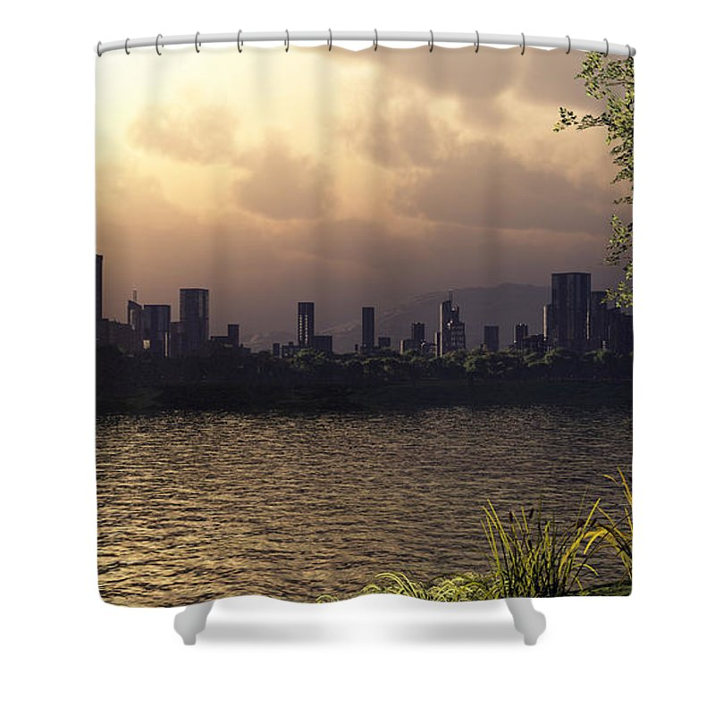Cities Shower Curtain featuring the digital art Skyline Lake by Richard Rizzo