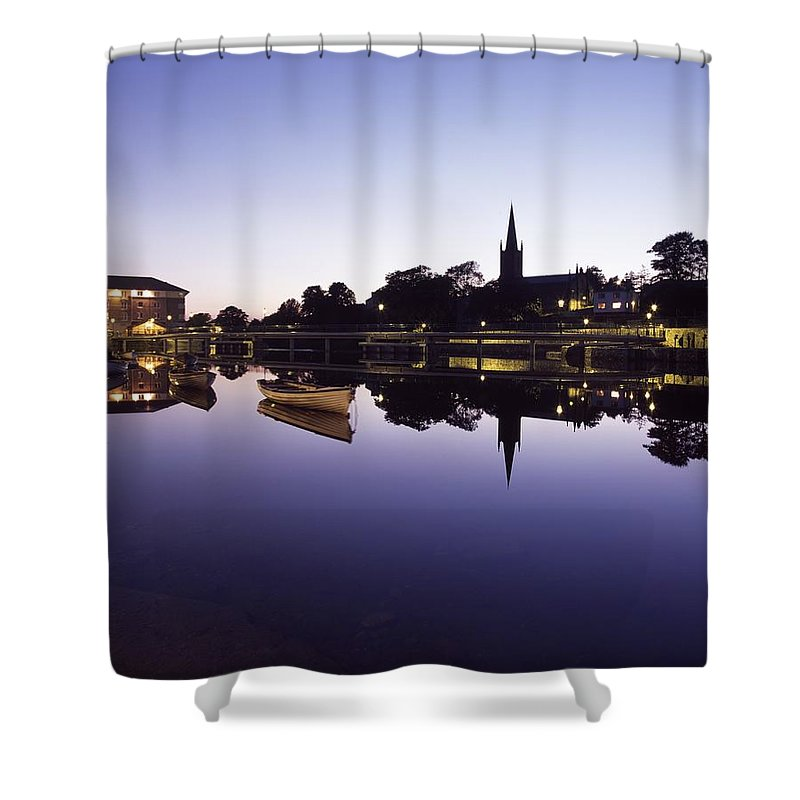 Dusk Shower Curtain featuring the photograph Skyline Over The R Garavogue, Sligo by The Irish Image Collection
