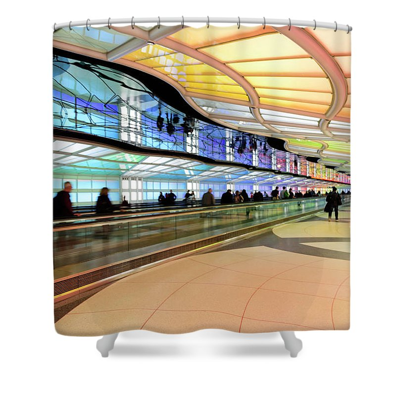 Shower Curtain featuring the photograph Sky's The Limit-underground Walkway by Johanna Froese