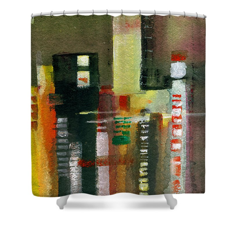 Townscape Shower Curtain featuring the painting Skyscrapers by Anil Nene