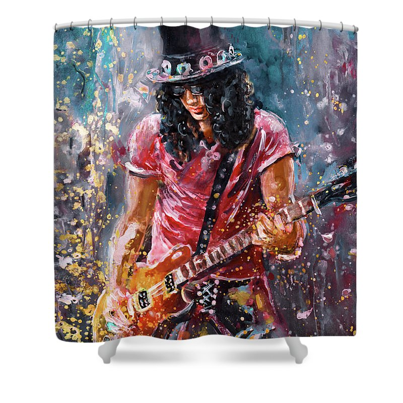 Music Shower Curtain featuring the painting Slash by Miki De Goodaboom