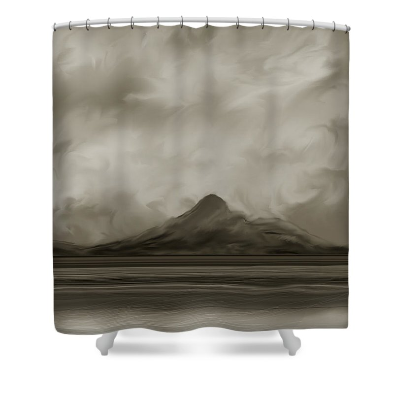 Wyoming Shower Curtain featuring the painting Sleeping Giant And Beck Lake by Anne Norskog