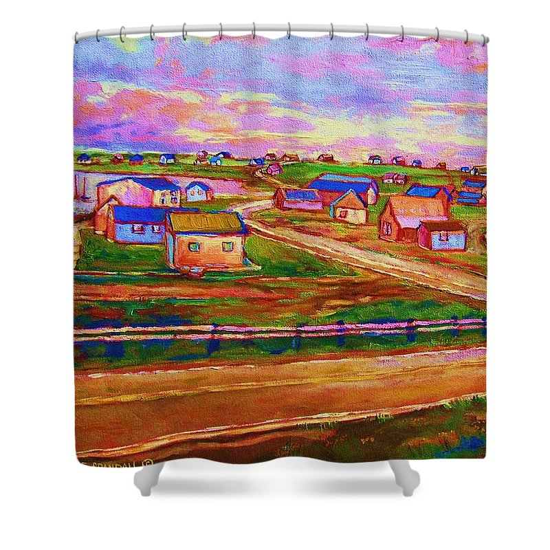 Sunrise Shower Curtain featuring the painting Sleepy Little Village by Carole Spandau