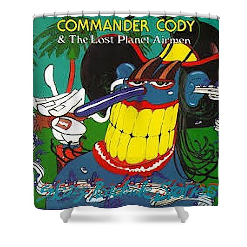 Shower Curtain featuring the digital art Sleezy Roadside Stories by Commander Cody