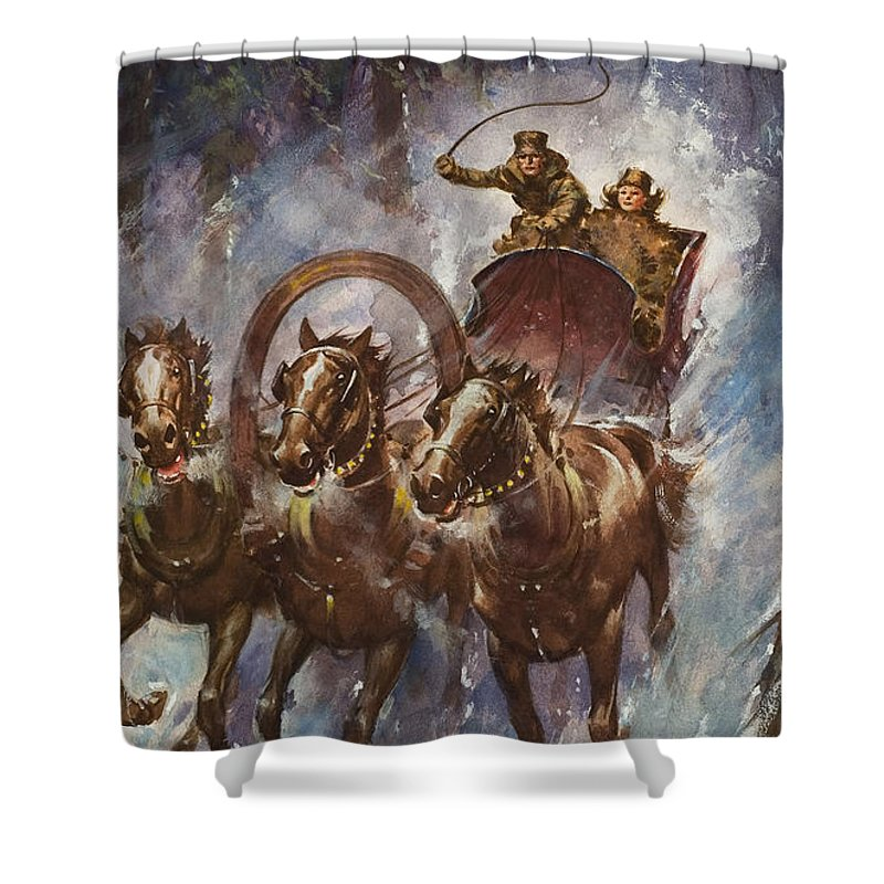 Sleigh Shower Curtain featuring the painting Sleigh Ride by James Edwin McConnell