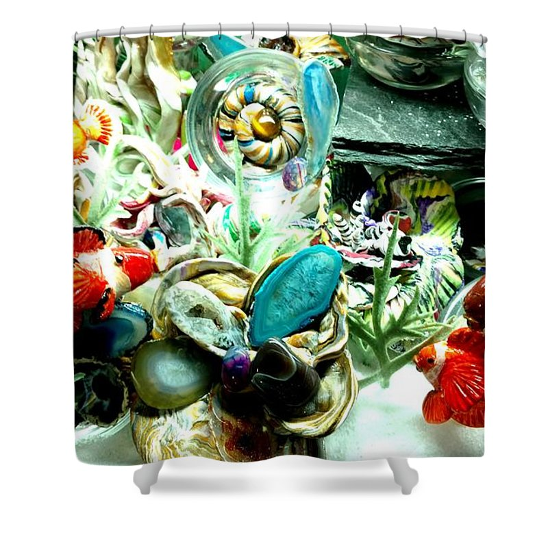Sea Water Ocean Scene Angel Color Colorful Fish Abstract Created Flower Coral Imagery Animated Aquatic No Maintenance Aquariumn Blue Green Red Yellow Gold Silver Abstract Shower Curtain featuring the mixed media Sliced Agate Coral To No Maintenance Aquariumn by Kirk Wieland