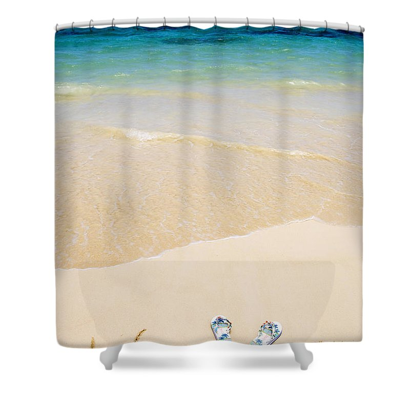 Beach Shower Curtain featuring the photograph Slippers In The Sand by Tomas del Amo - Printscapes