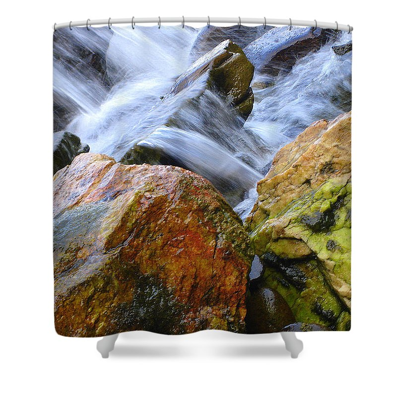 Rocks Shower Curtain featuring the photograph Slippery When Wet by Shelley Jones