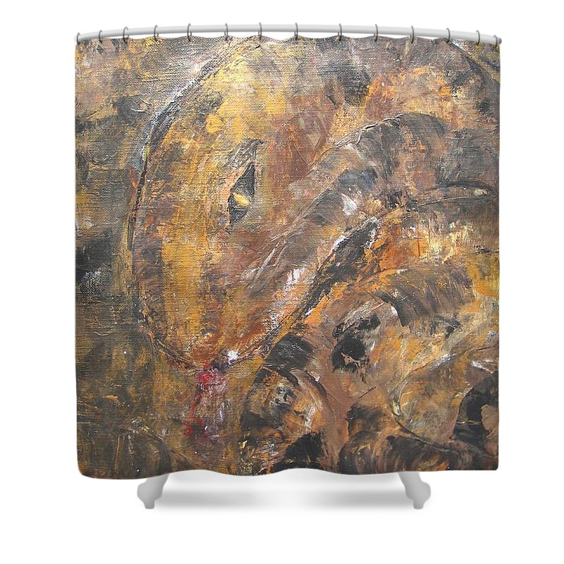 Acrylic Shower Curtain featuring the painting Slither by Maria Watt