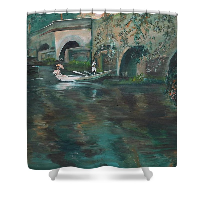 River Shower Curtain featuring the painting Slow Boat - Lmj by Ruth Kamenev