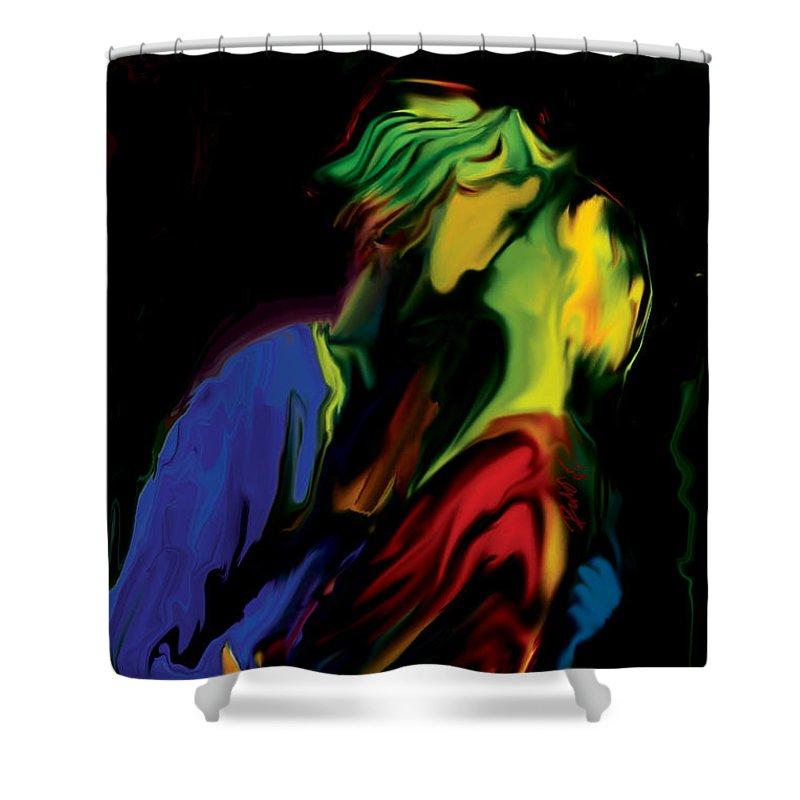 Black Shower Curtain featuring the digital art Slow Dance by Rabi Khan