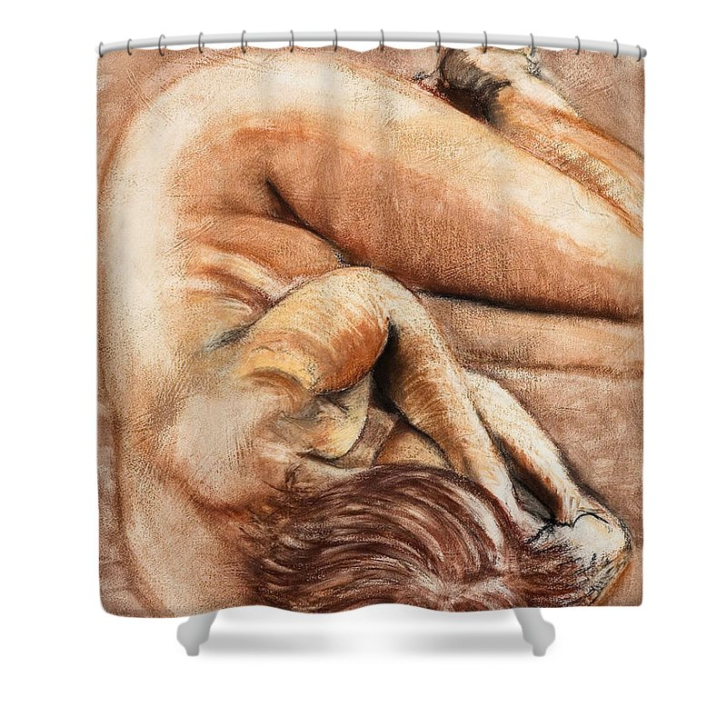 Nude Shower Curtain featuring the drawing Slumber Pose by Kerryn Madsen-Pietsch