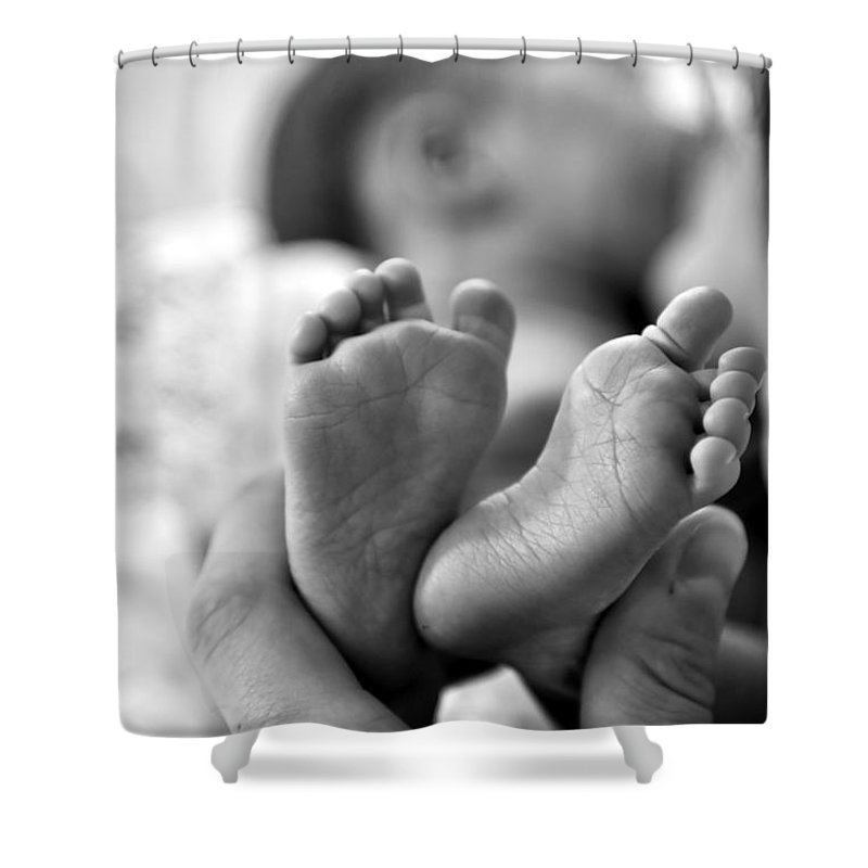 Babies Feet Shower Curtain featuring the photograph Small And Cute by Jeramey Lende