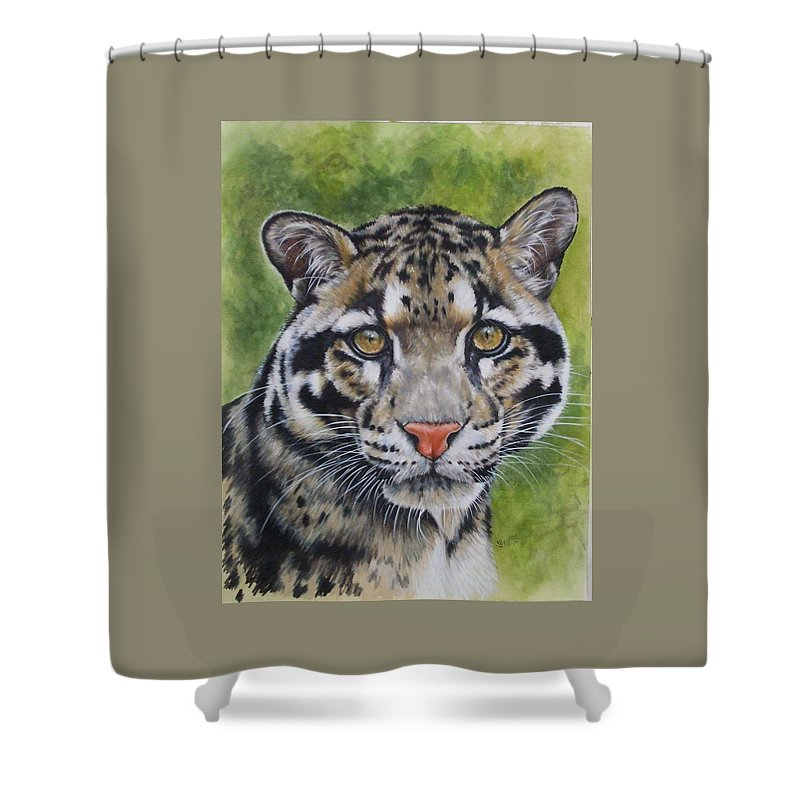 Clouded Leopard Shower Curtain featuring the mixed media Small But Powerful by Barbara Keith