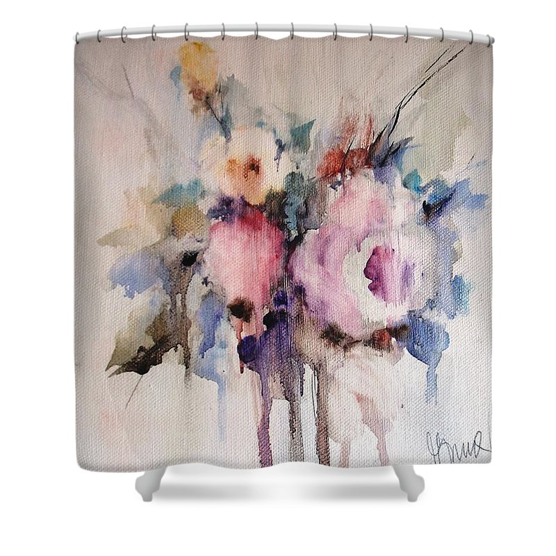 Floral Shower Curtain featuring the painting Small Roses by Vesna Grundler