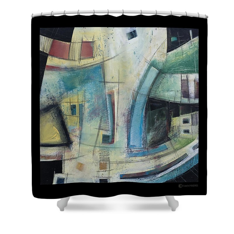 Abstract Shower Curtain featuring the painting Small Town Blues by Tim Nyberg