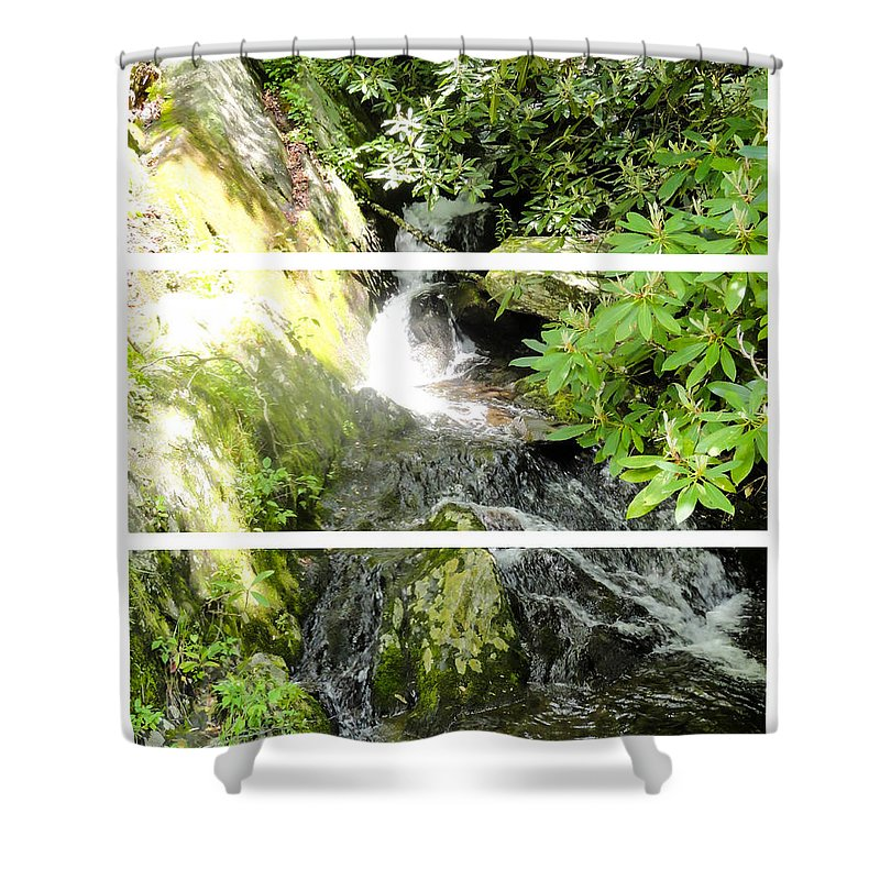 Small Waterfall Smoky Mountains Triptych Shower Curtain featuring the photograph Small Waterfall Smoky Mountains Triptych by Cynthia Woods