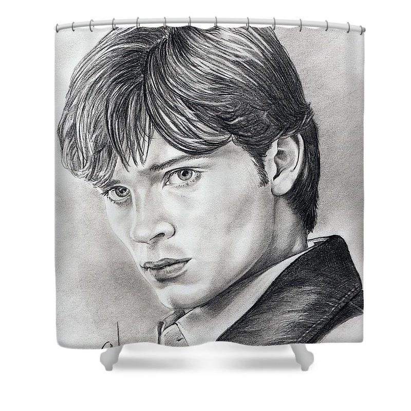 Superman Shower Curtain featuring the drawing Smallville Tom Welling by Murphy Elliott