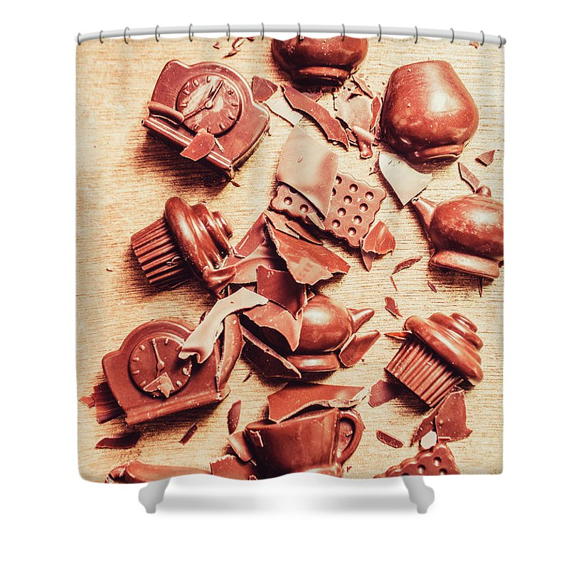 Chocolate Shower Curtain featuring the photograph Smashing Chocolate Fondue Party by Jorgo Photography - Wall Art Gallery