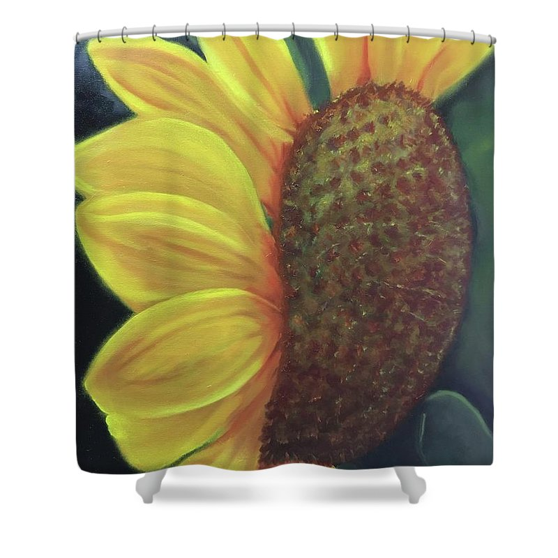 Sunflower Shower Curtain featuring the painting Smile by Nancy Breiman