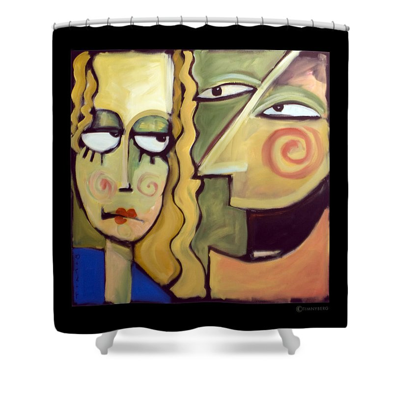 Humorous Shower Curtain featuring the painting Smile by Tim Nyberg