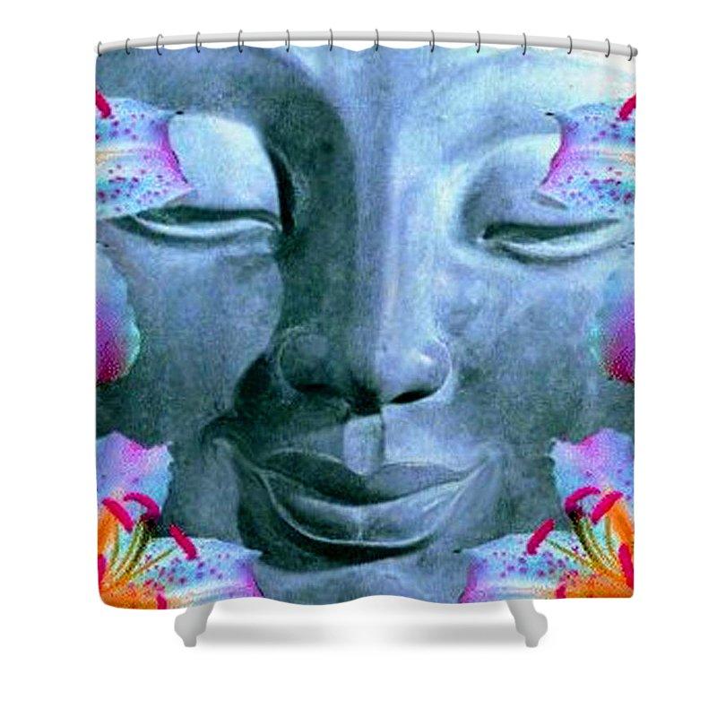Digital Artwork Shower Curtain featuring the digital art Smiling Buddha by Richard Copeland