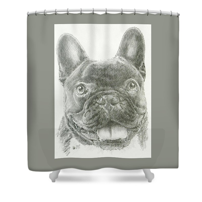 Non Sporting Shower Curtain Featuring The Drawing Smiling French Bulldog By Barbara Keith