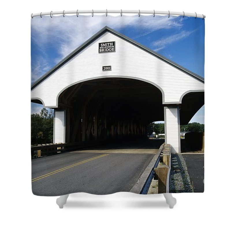 Bridge Shower Curtain featuring the photograph Smith Covered Bridge - Plymouth New Hampshire Usa by Erin Paul Donovan