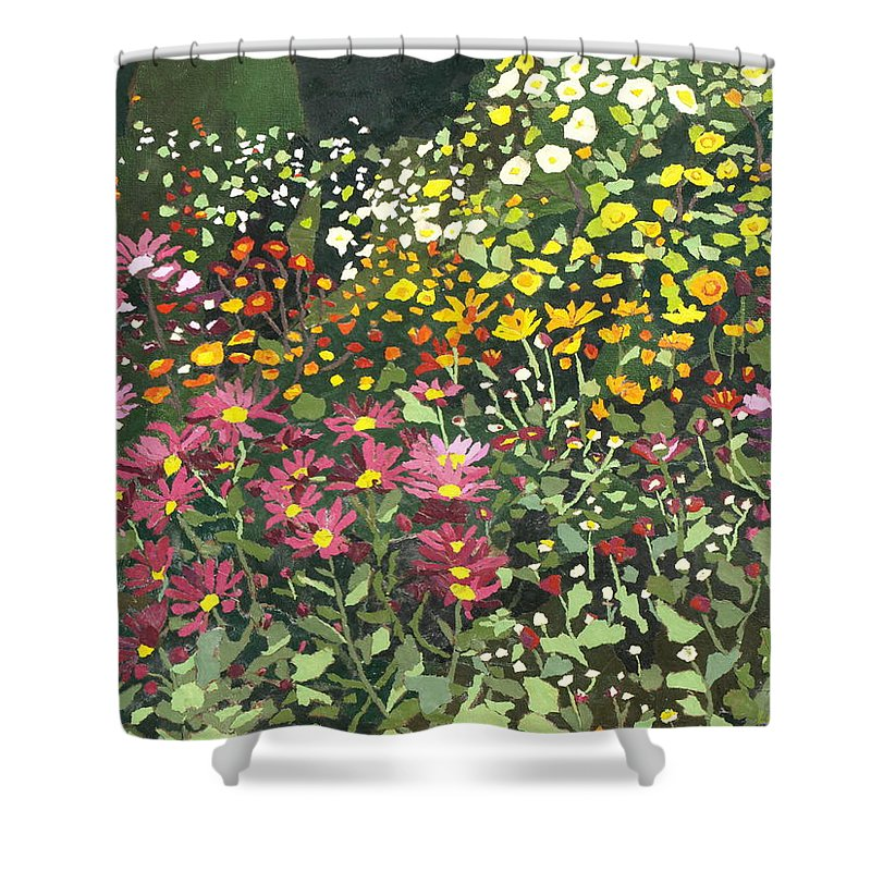Floral Shower Curtain featuring the painting Smith Mums by Leah Tomaino