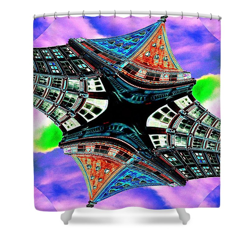 Seattle Shower Curtain featuring the digital art Smith Tower Fractal by Tim Allen