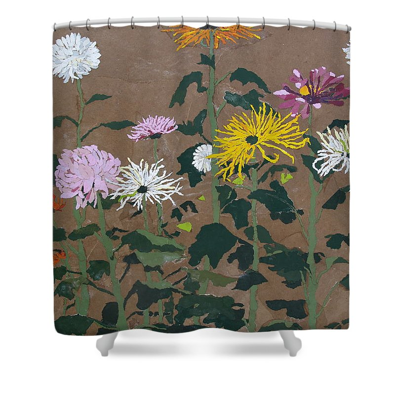 Collage Shower Curtain featuring the painting Smith's Giant Chrysanthemums by Leah Tomaino